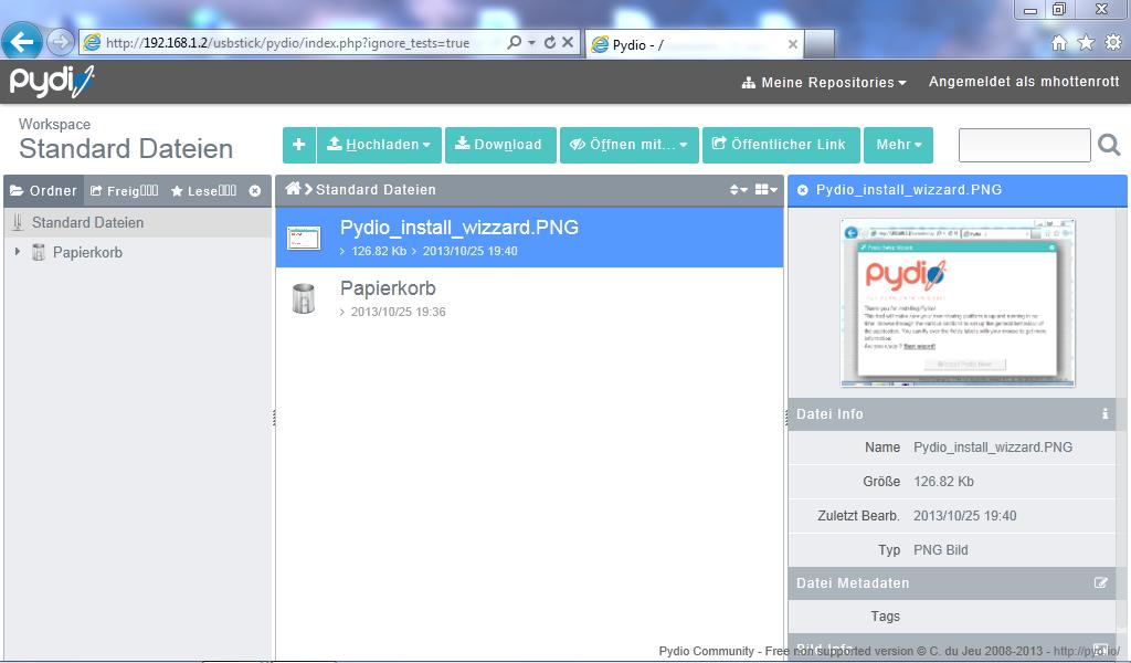Programmoberfläche der Pydio Filesharing Plattform