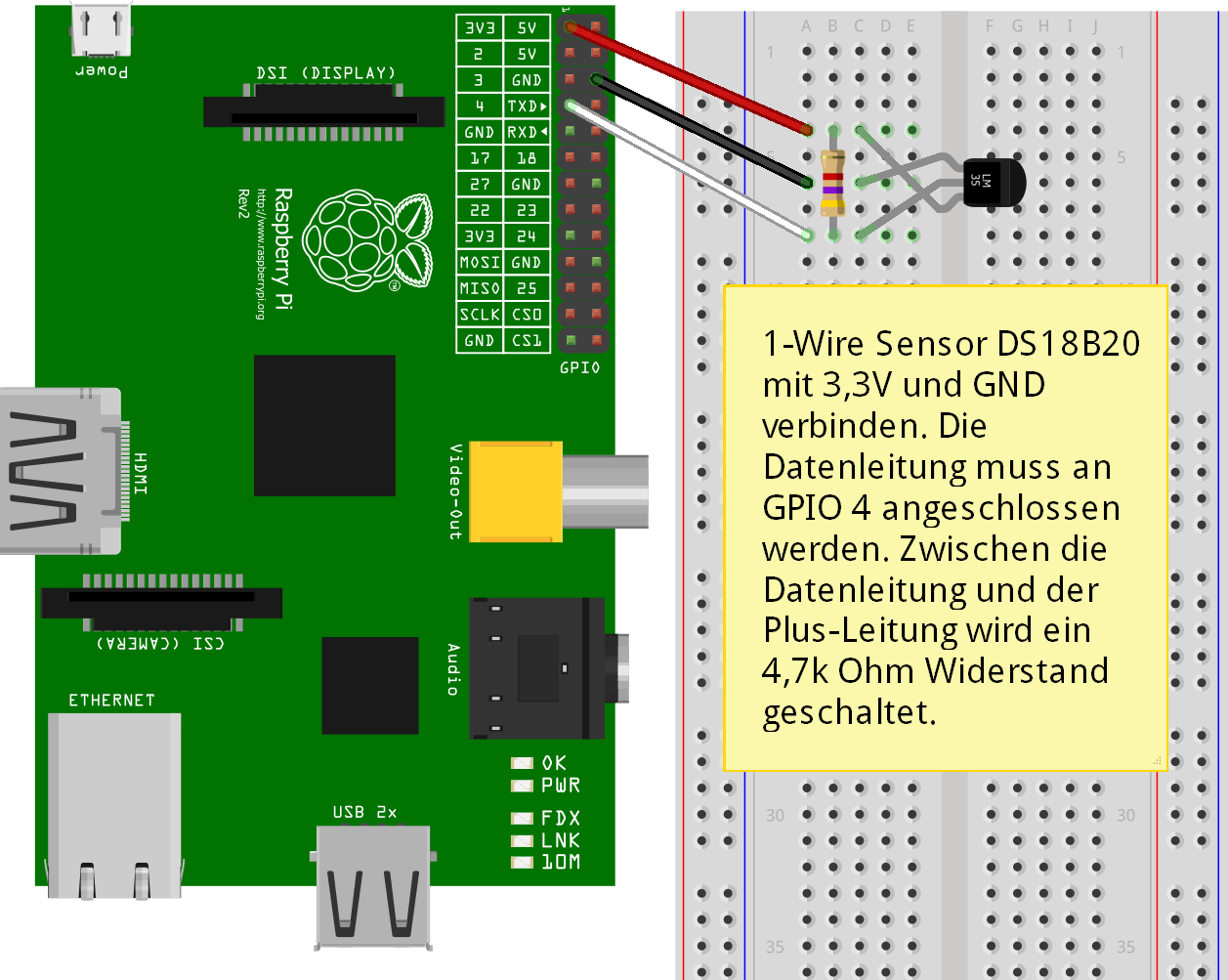 Raspberry Pi DS1820 Steckplatine