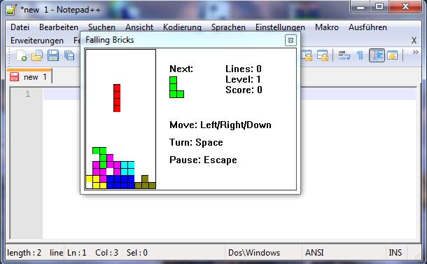Notepad++ Falling Bricks