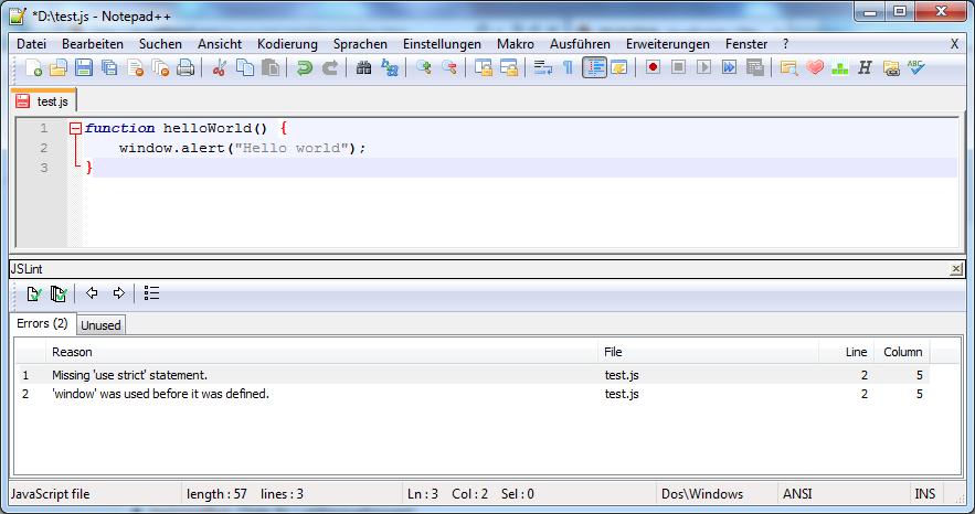 Notepad++ JSLint