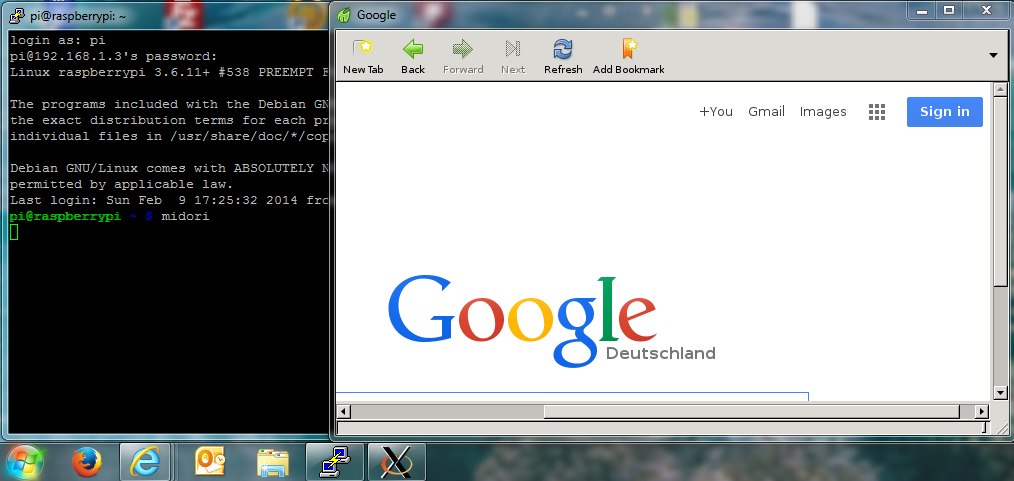 Midori Browser unter Windows mit Putty und X11