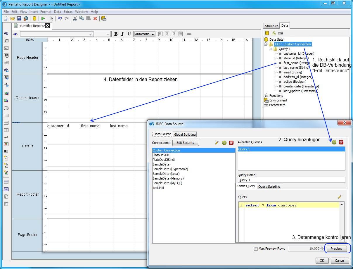Pentaho Report Designer - Datenfelder in den Report einfügen