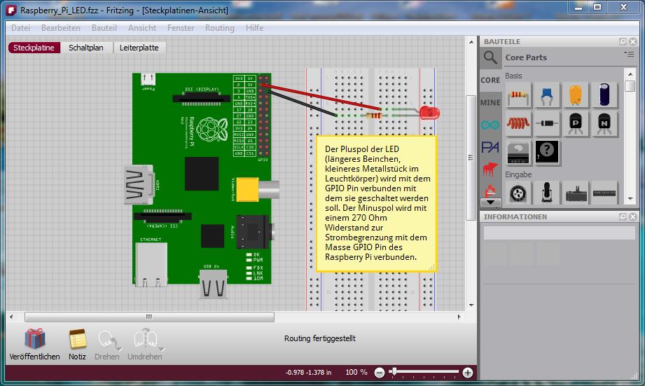 Breatboardansicht einer Raspberry Pi Schaltung in der Software Fritzing