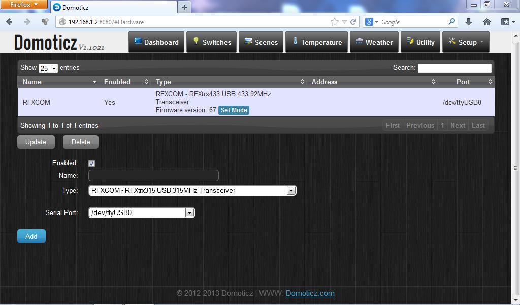 Domoticz - Hardware RfxCOM