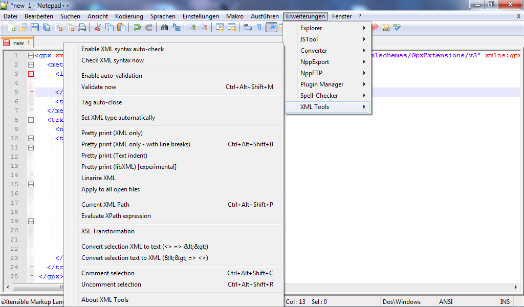 Notepad++ XML Tools