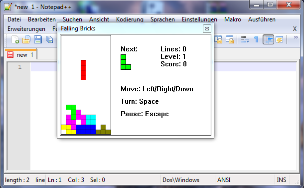Notepad++ Falling Bricks