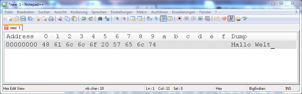 Notepad++ Hexeditor