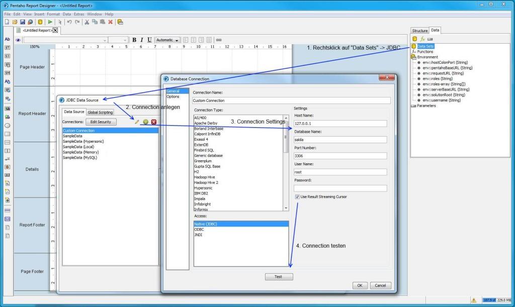 Pentaho Report Designer - Datenbankverbindung einrichten